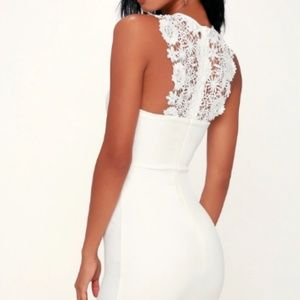 Lulus Come Alive White Lace Bodycon Dress NWT